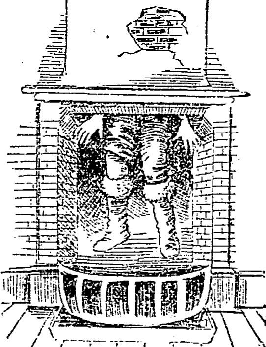 Santa stuck in fireplace