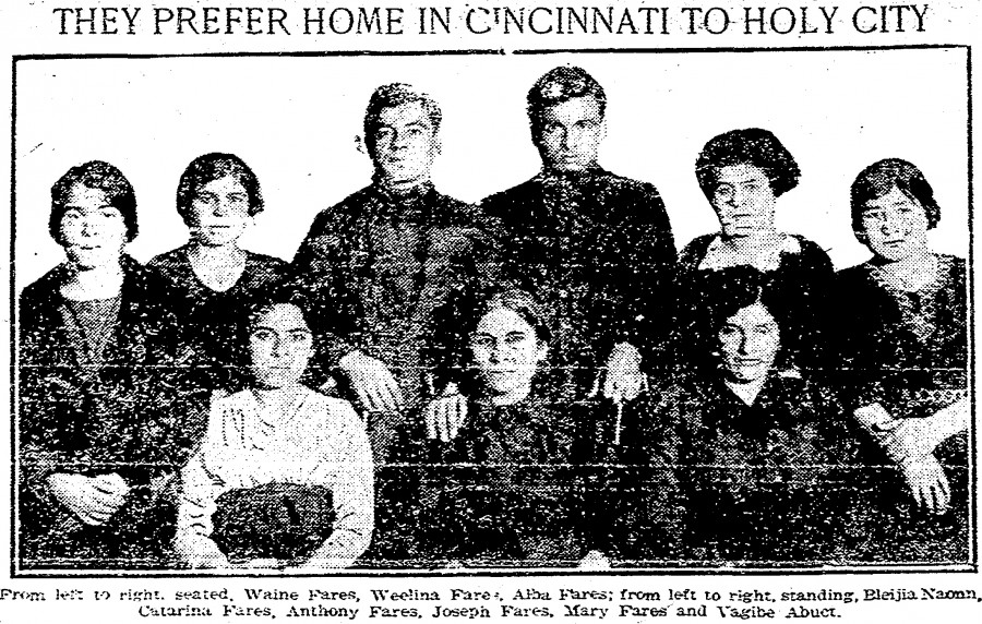 The Fares family arrived in Cincinnati in 1921 with almost no English, described by the Cincinnati Post as Syrians living in Palestine and oppressed by Turkey.