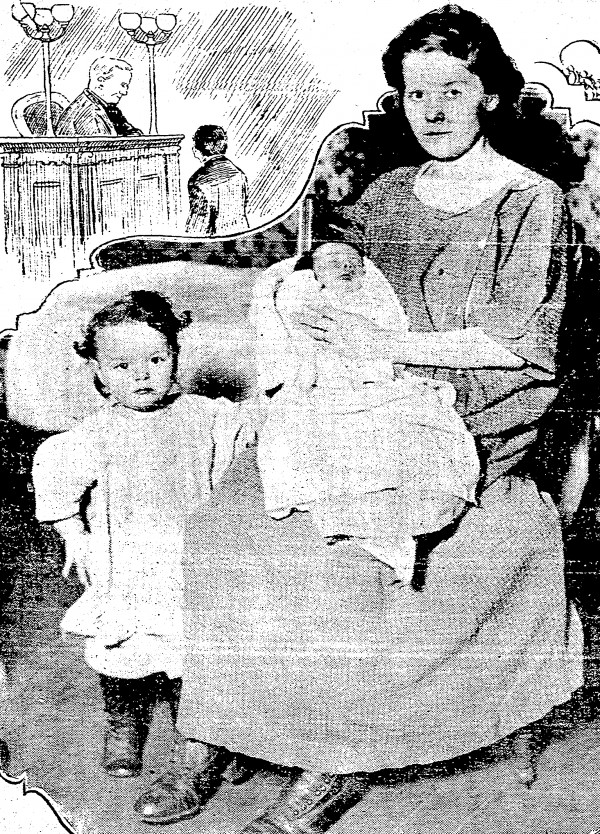 Edna Clifton holds two-week old Thomas Clifton Jr. while daughter Jessie stands at her knee.