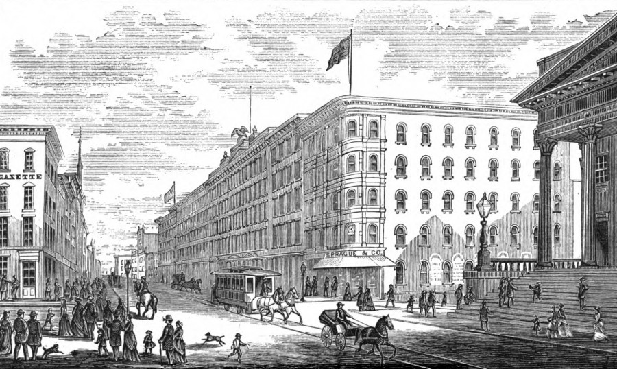 Pike's Opera House, on the south side of Fourth Street between Vine and Walnut sat right in the middle of Cincinnati's prime shopping district in 1868. Many shops rented space on the street level.