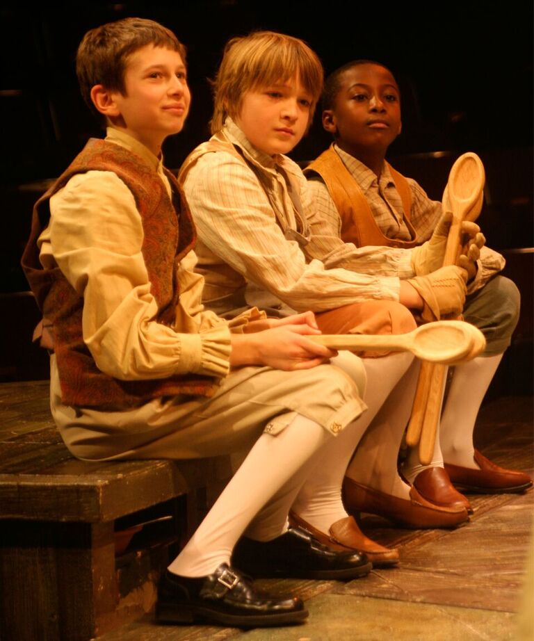 Boys at the Fezziwig party in the 2008 production, left to right: Richard Lowenburg, Eben Franckewitz, and Methani Ran.