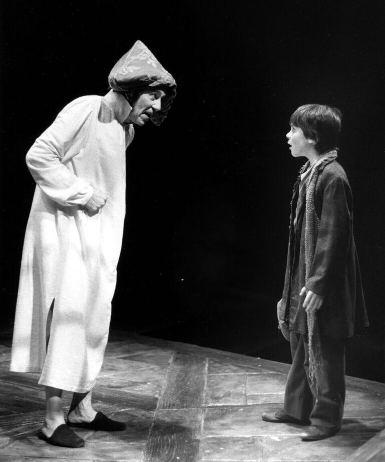 Alan Mixon (Ebenezer Scrooge) with Michael Ingram (George) in the Playhouse's second annual production of A Christmas Carol in 1992.