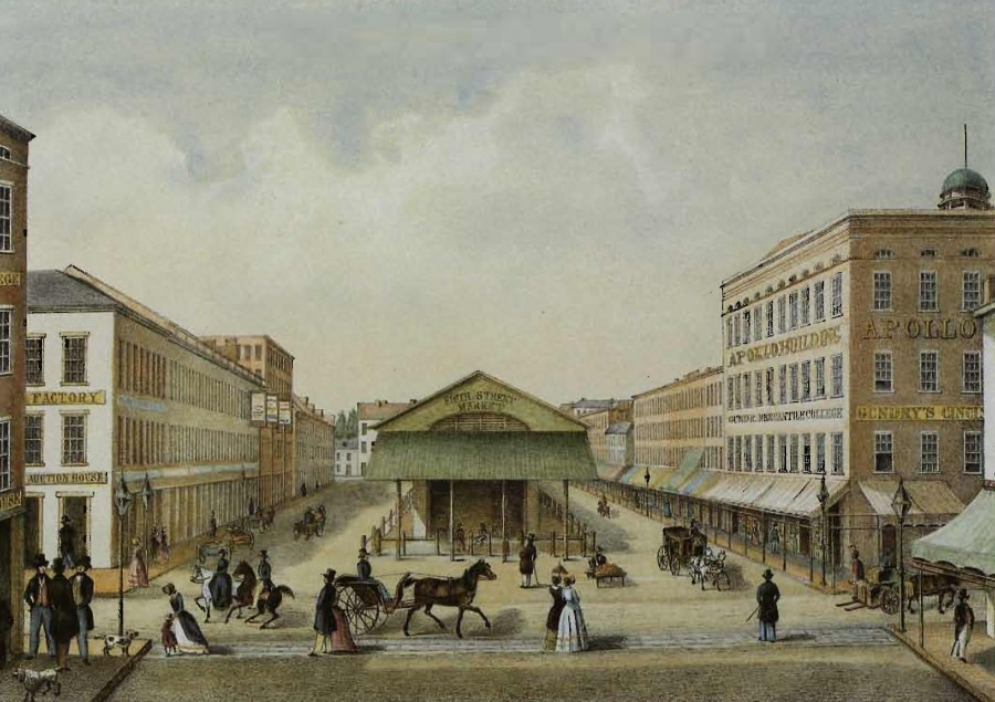 Cincinnati's Fifth Street Market is pictured as it looked during the mid-1850s in this hand-colored lithograph by Cincinnati printer Otto Onken. The view is westward along Fifth Street from Walnut. The original is held by the Cincinnati Historical Society, a gift from Chilton Thomas.