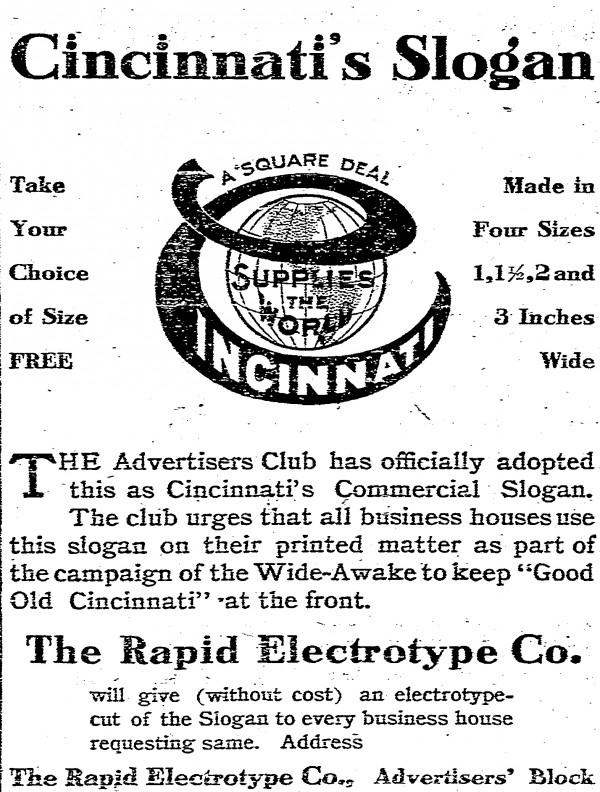 Advertisement showing 1909 Cincinnati slogan From The Cincinnati Post, 27 April 1909