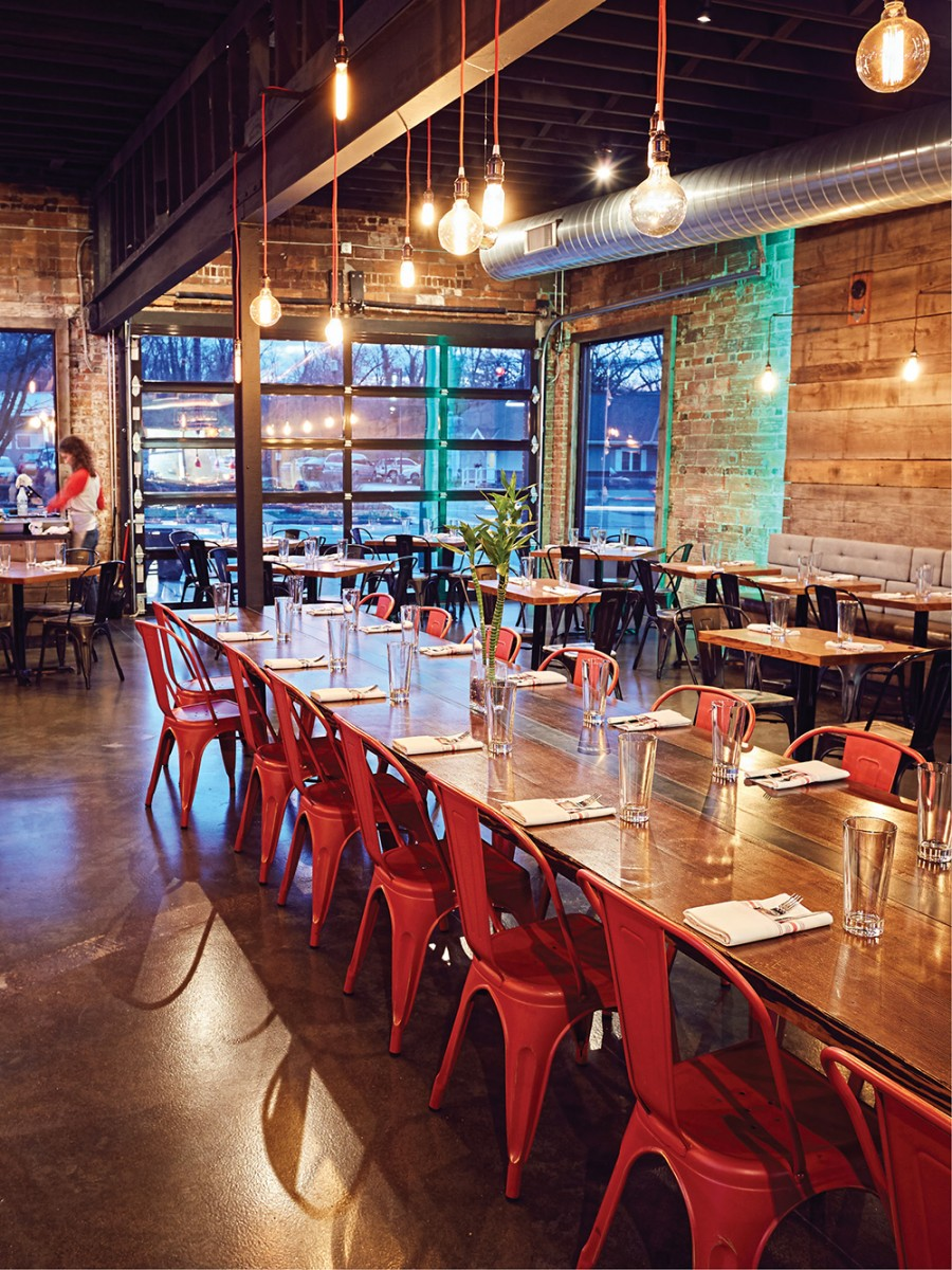 The long communal table at Tela Bar + Kitchen in Wyoming