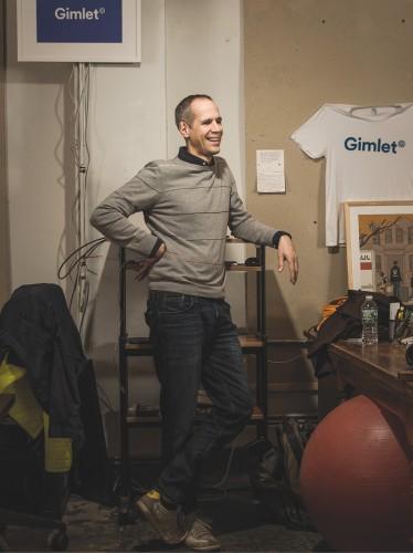 Alex Blumberg photographed in Gimlet's Manhattan office on November 11, 2015