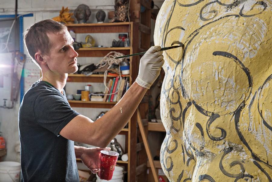 Matt Wedel photographed in his sculpture studio near Athens, Ohio, on November 23, 2015