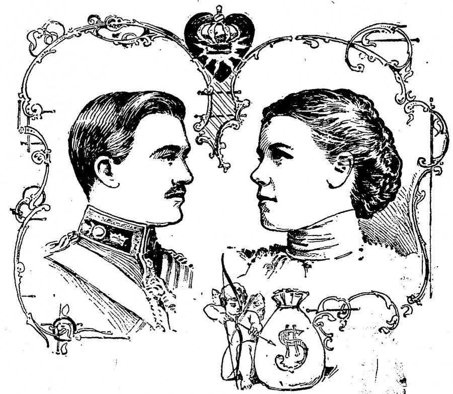The Duke of Manchester and his Cincinnati heiress (note the money bag next to Cupid) as published by The Cincinnati Enquirer 10 August 1900.