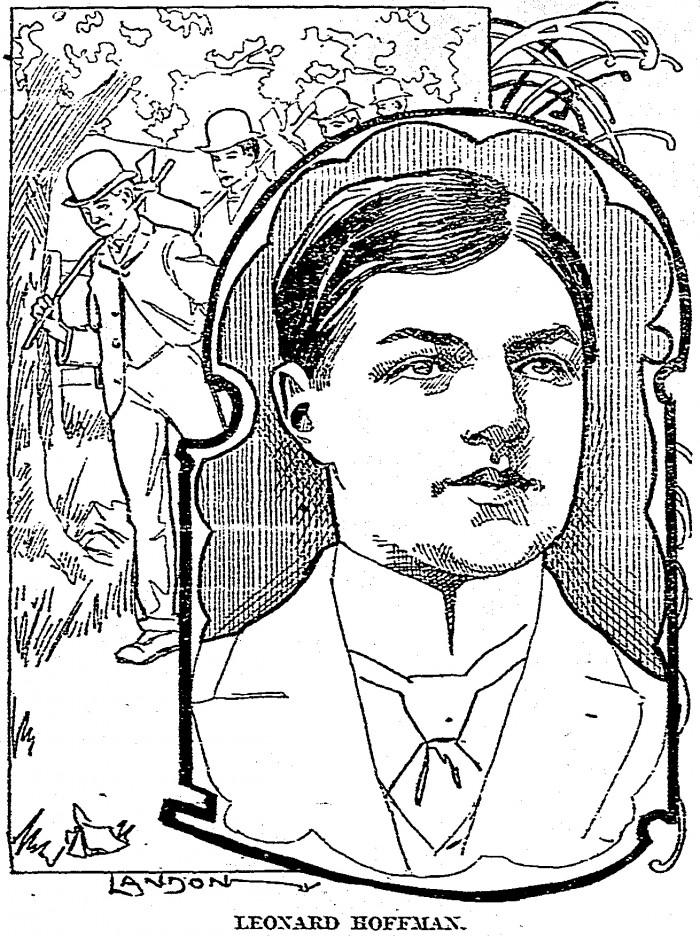 Portrait of Leonard Hoffman, with illustration of young men with hobo bundles