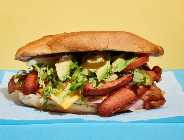 Torta Cubana: breaded chicken or beef with ham and hot dog