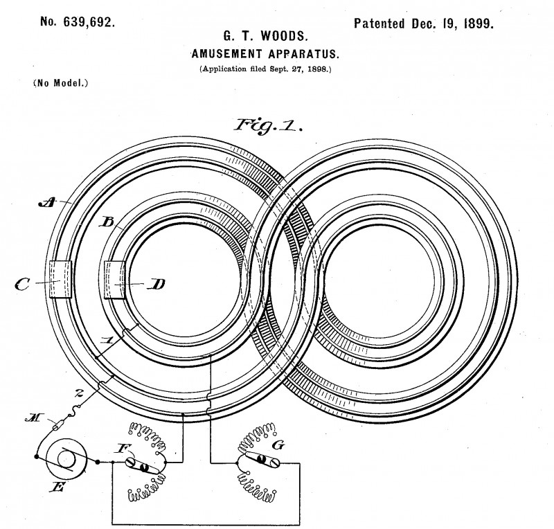 """The """"Amusement Apparatus"""" patented by Granville Woods was a precursor to slot-car racers—and to amusement park rides."""