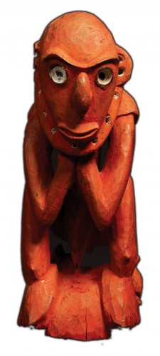 Genheimer's favorite piece- a igure of a man carved by the Anggoram or Biwat people of Papua New Guinea.