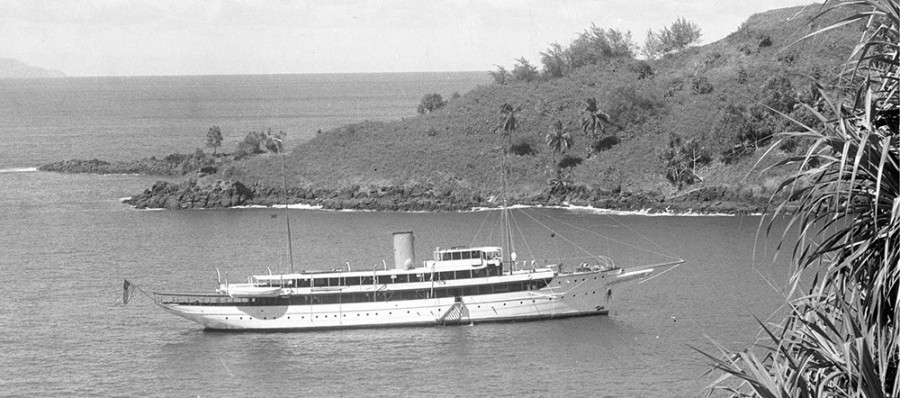 The Camargo at anchor in the Marquesas Islands, November 1931.