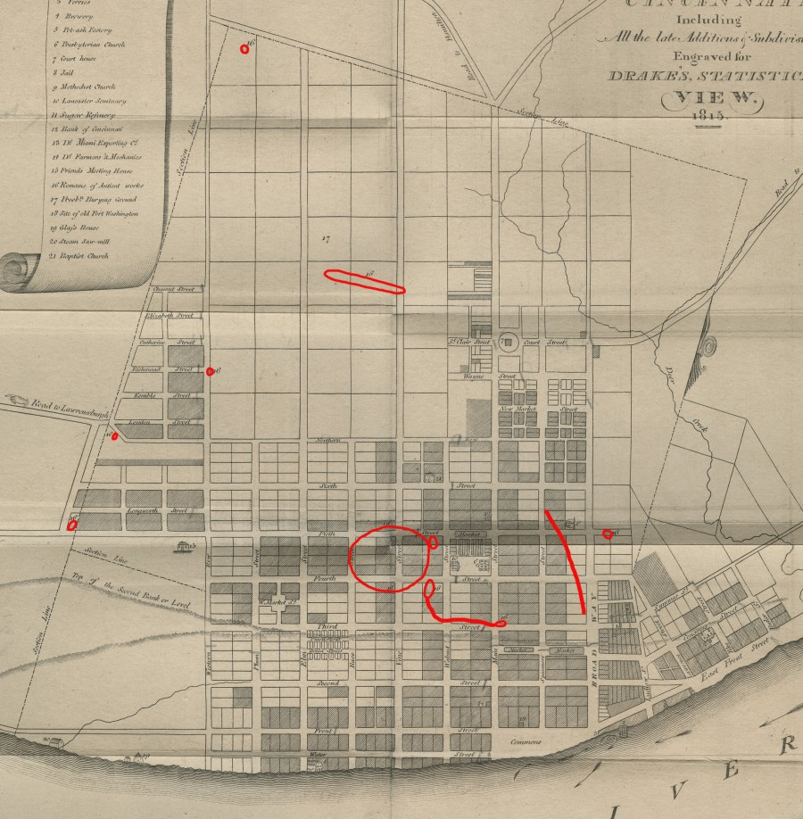 """Daniel Drake's 1815 map of Cincinnati with """"Remains of Antient works"""" highlighted in red."""
