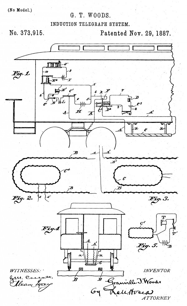 """Granville Woods' """"Induction Telegraph"""" patent withstood two challenges by Thomas Edison."""