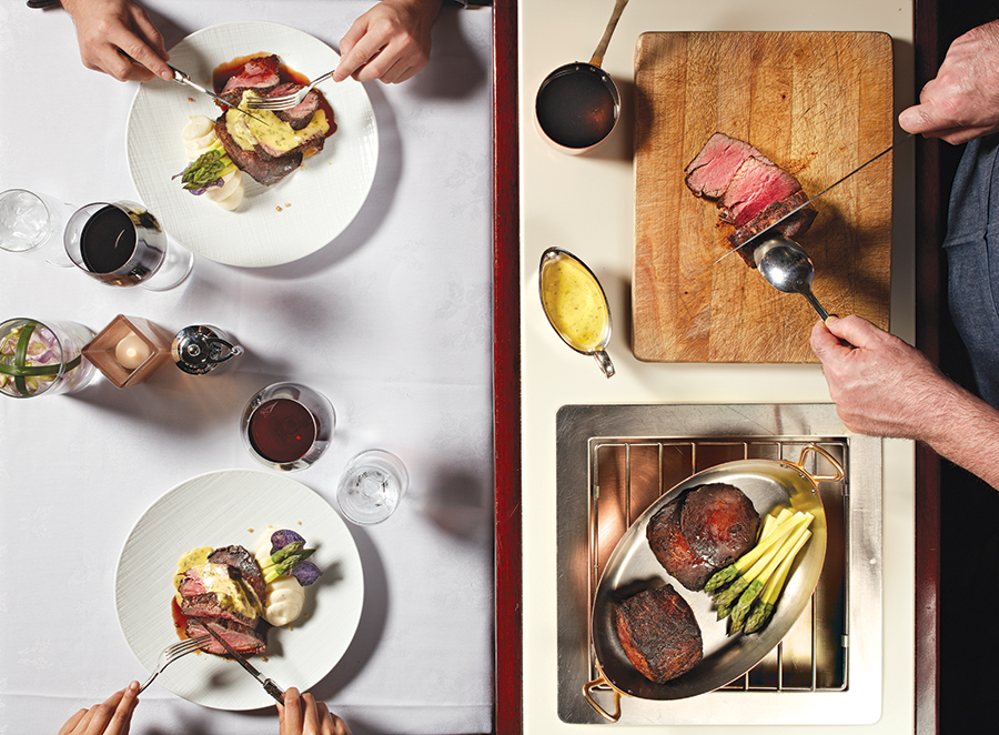Orchids Chateaubriand: The official O.G. of couples' cuisine, this center-cut, 28-ounce tenderloin steak is sliced and served tableside with potato mousseline, portobello mushrooms, asparagus, and bordelaise and béarnaise sauces.