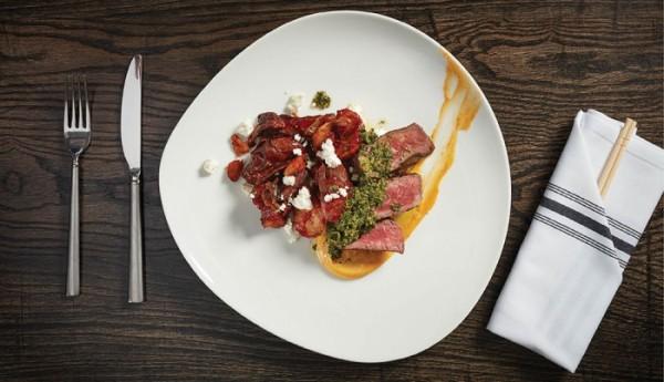 The gaucho rib eye steak with patatas bravas.
