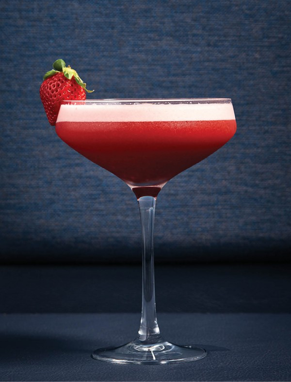 A strawberry sling cocktail.