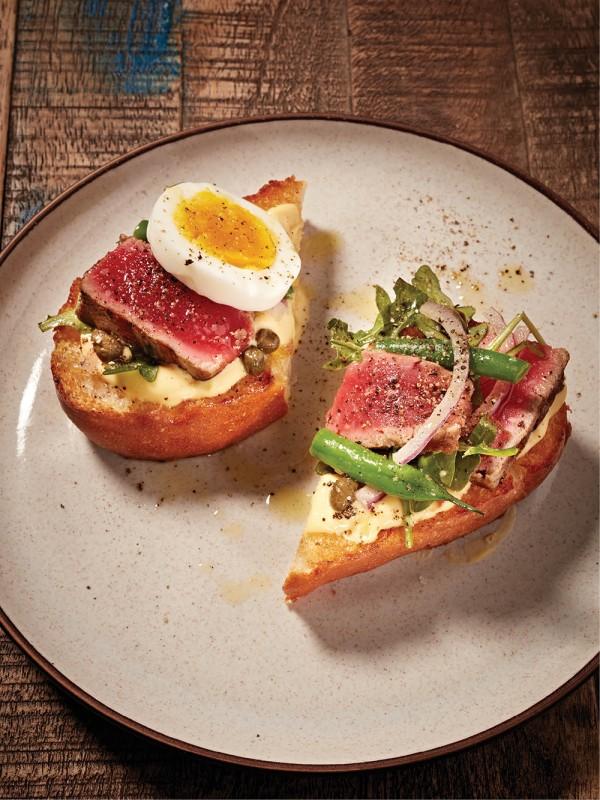 Dan Wright's wood-grilled tuna crostini.