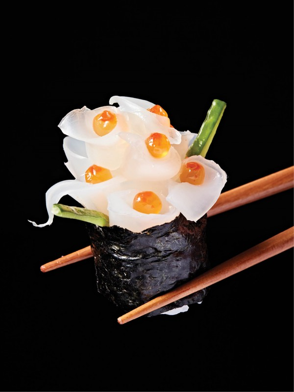 An edible hydrangea flower made with squid and salmon roe by Ken Ando
