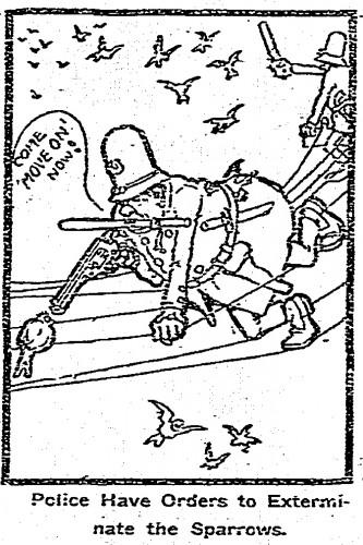Cartoon of cop on telephone wires, from Cincinnati Post, 1901