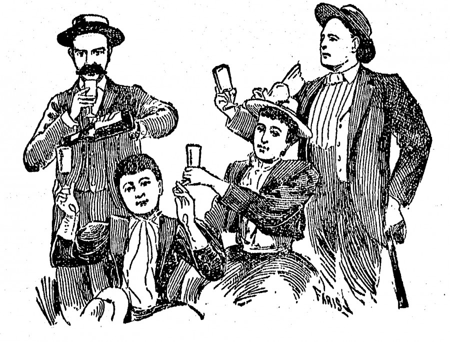 A Coney Island photobooth tintype shows embezzler Billy Orchard, with the massive mustache, pouring beer into a glass held by Mrs. Clara Phillips. Seated next to her is her sister, Mrs. Ida May Pettibone. Standing right is Ida May's paramour, Anson Millman.