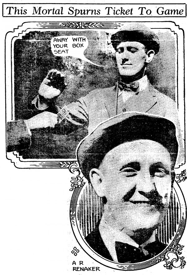 Adam R. Renaker lived in Covington, worked in Cincinnati, and refused to watch the 1916 Cincinnati Reds play, even when offered a free ticket.