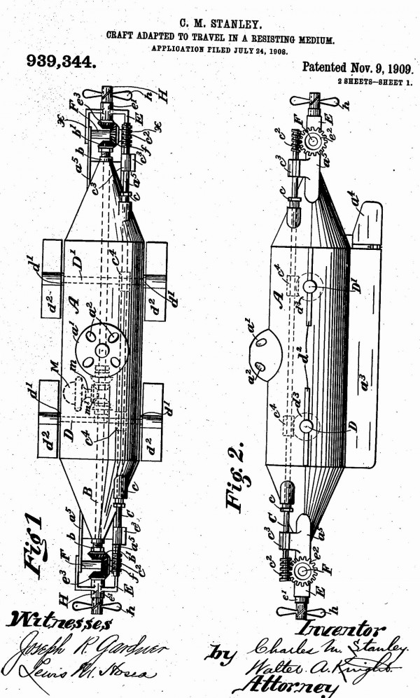 Charles Stanley credited his wife, Annie, in all the newspaper coverage for inventing the submarine. When the patent was issued, only his name appears.