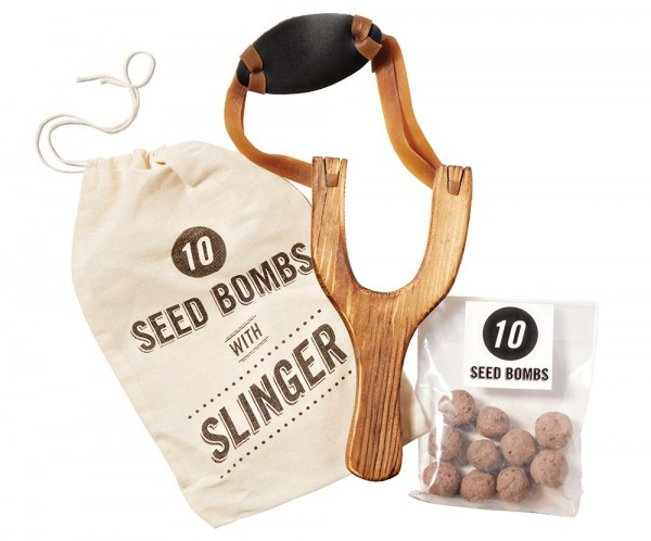 Channel your inner Dennis the Menace and sling seeds to the furthest corners of the yard with this seed bomb kit. Just don't put somebody's eye out. Seed bombs with slinger, $16, VisuaLingual, visualingual.com