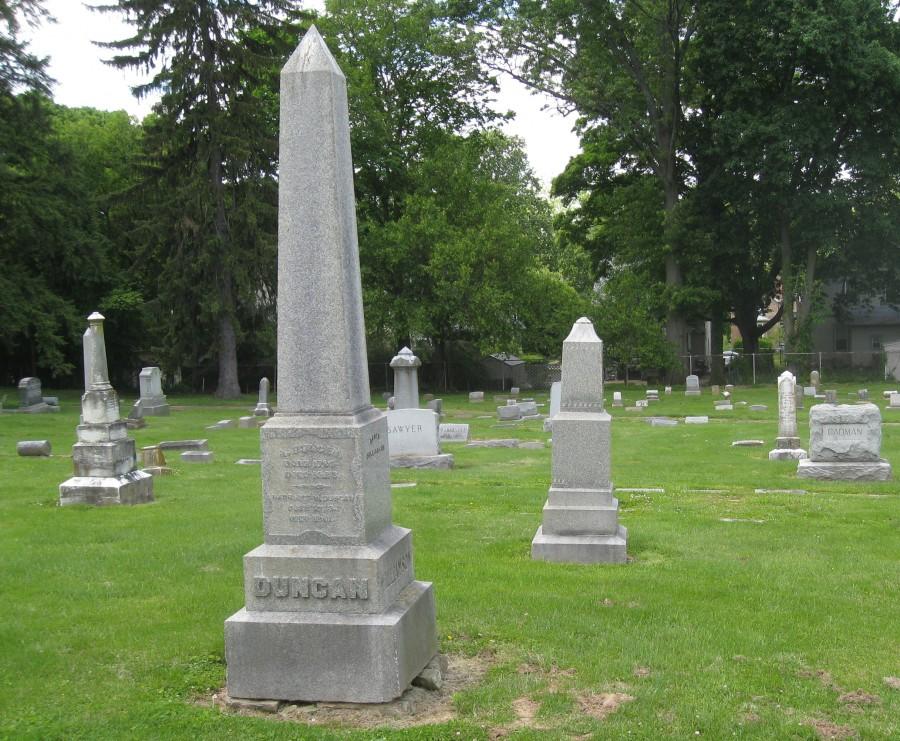Alexander Duncan's monument in Madisonville's IOOF (international Order of Odd Fellows) Laurel Cemetery.