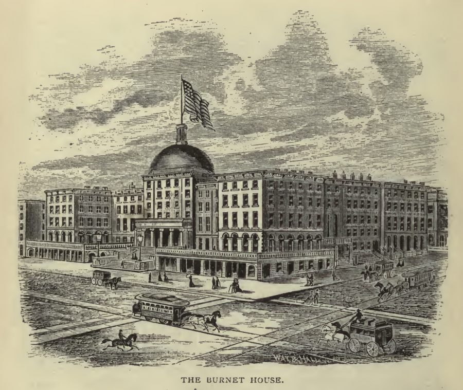 Drawing of Burnet House, from Illustrated Cincinnati by D.J. Kenny, published 1875