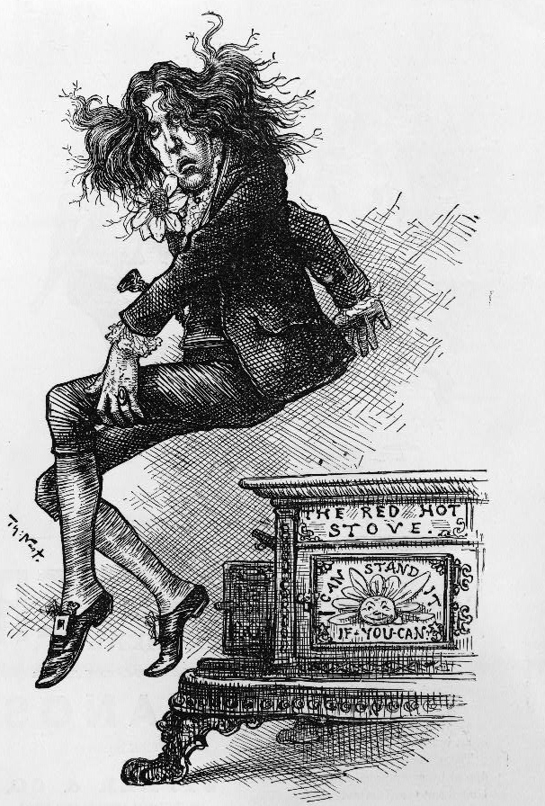 Cartoon caricature of Oscar Wilde by Thomas Nast, from Harper's Weekly, 9 September 1882