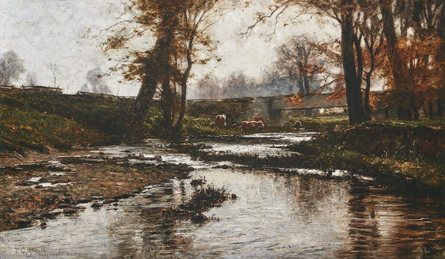 T.C. Steele (American, 1847–1926), Pleasant Run, 1885, oil on canvas, 19-1/4 × 32-1/4 in. Indianapolis Museum of Art, Gift of Carl B. Shafer, 58.30.1.