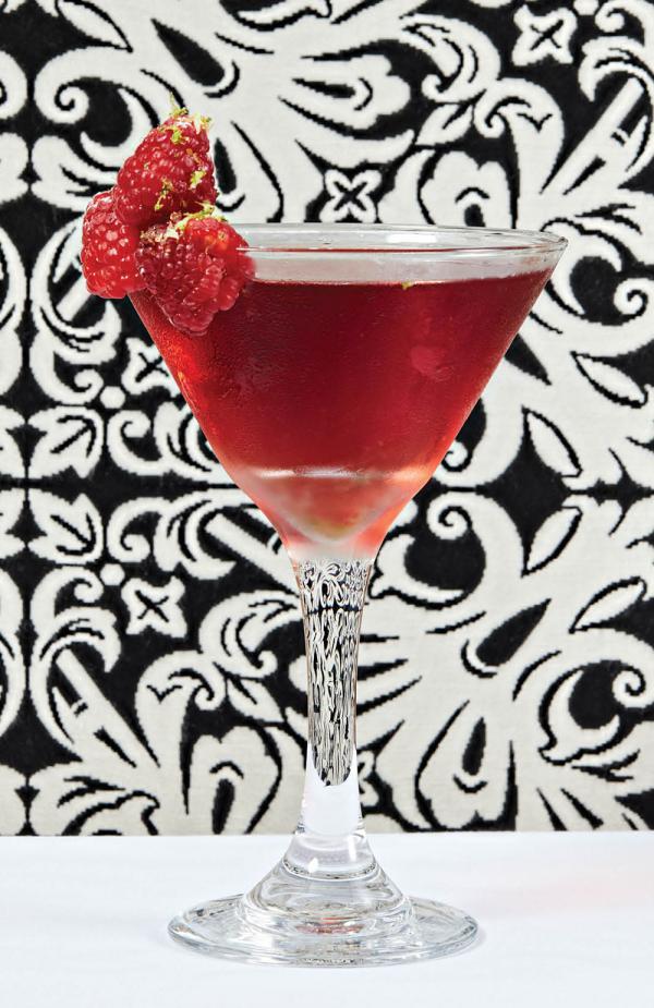 Pierre's raspberry–infused martini