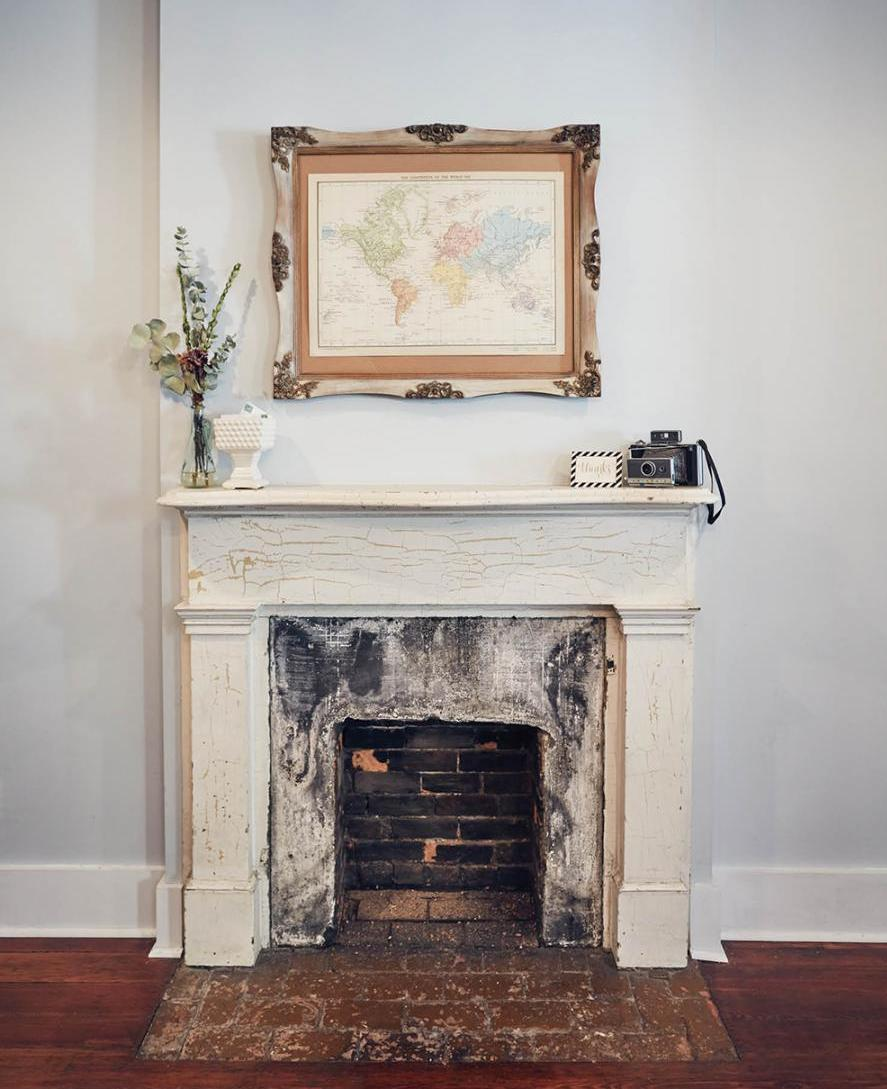 The map is dated 1881, the year the house was built, and is an IKEA find placed in a refurbished frame.