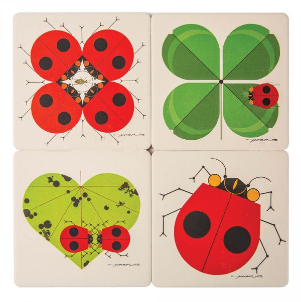 Lucky ladybug absorbent stone coaster set, $29.95, charleyharper.com