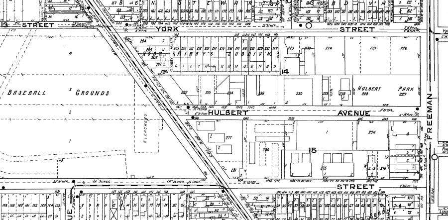 During its very brief existence – just over a decade – Hulbert Park occupied the northwest corner of the intersection of Hulbert and Freeman, just two blocks from the Cincinnati Reds' baseball field.