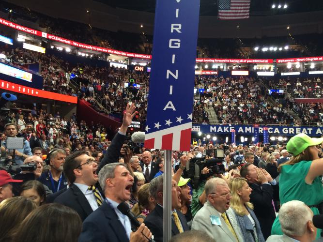 """The Virginia delegation—including former state attorney general Ken Cuccinelli in the foreground—shouts """"no"""" on the convention rules."""
