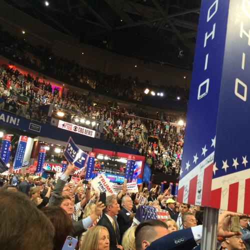 The Ohio delegation during VP candidate Mike Pence's speech.