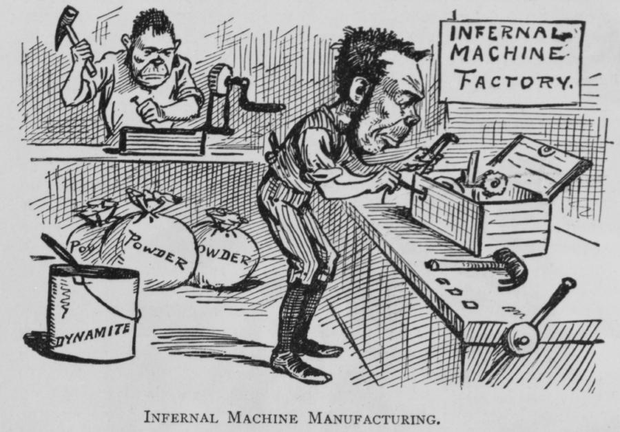 Once word of William Arrison's Infernal Machine was published, the concept was adopted by many others, including, as this cartoon from the humor magazine Puck suggested in 1881, those working for Irish independence.