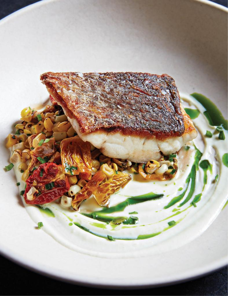 Red drum with tomatoes and corn