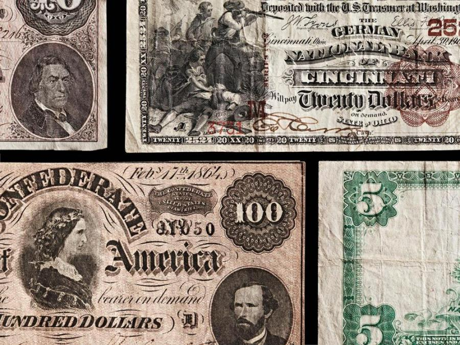 Clockwise from top left: 1901 $20 National Bank Note, German National Bank of Cincinnati; 1908 $5 National Bank Note, Citizen's National Bank And Trust of Cincinnati; 1864 Confederate $100 Note; 1864 Confederate $10 Note