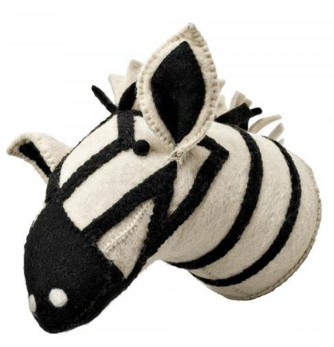 It's taxidermy's much-less-creepy cousin: felted and stitched animal heads! Plus, graphic black-and-white fits with most any color scheme. (No zebras were harmed in the making of this decoration.) Hanging Animal Head, $65, Camargo Trading Company, camargotrading.com