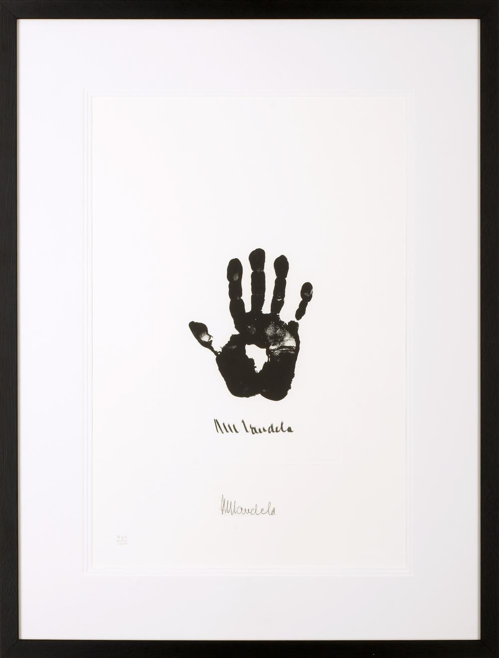 """Hand of Africa (c) Nelson Mandela, Limited edition signed lithograph, 25.5 x 21.5"""""""