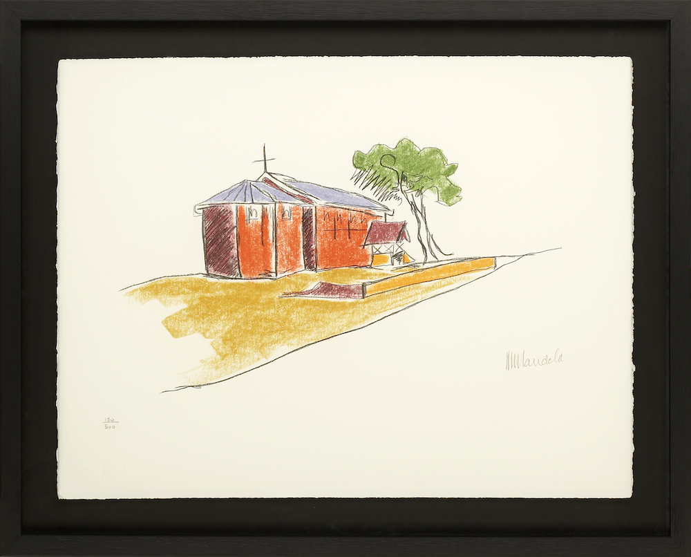 """The Church (c) Nelson Mandela, Limited edition signed lithograph, 21.5 x 19.5"""""""