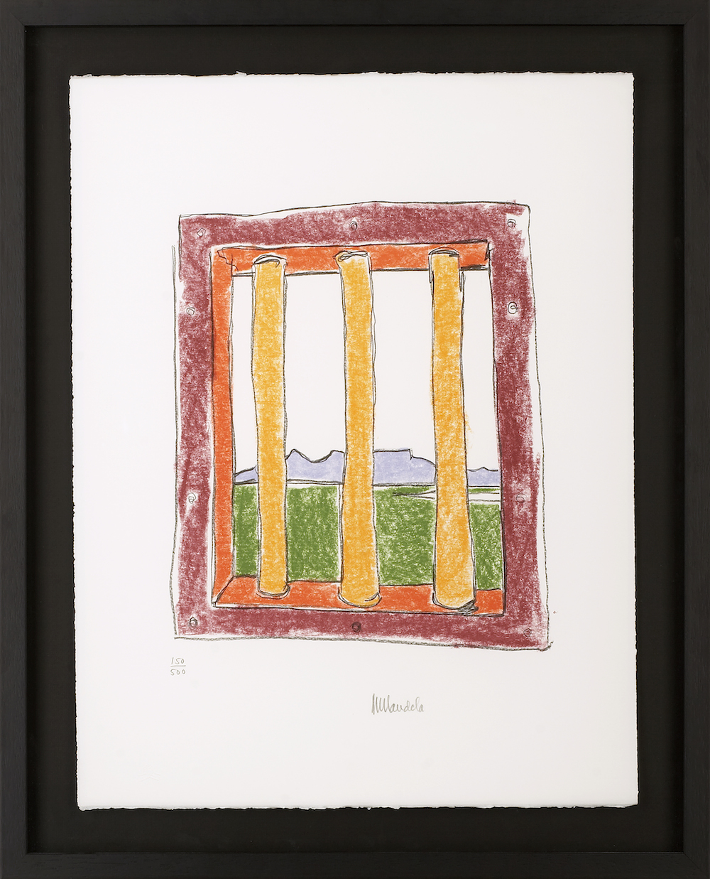 """The Window (c) Nelson Mandela, Limited edition signed lithograph, 21.5 x 19.5""""lithograph, 21.5 x 19.5"""""""