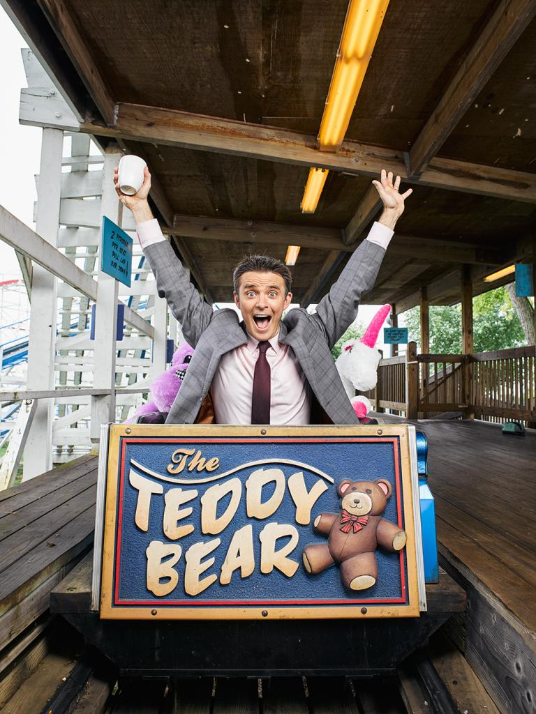 Channel 12's Bob Herzog—one of our West Side MVP's— in the first car of The Teddy Bear coaster at Stricker's Grove