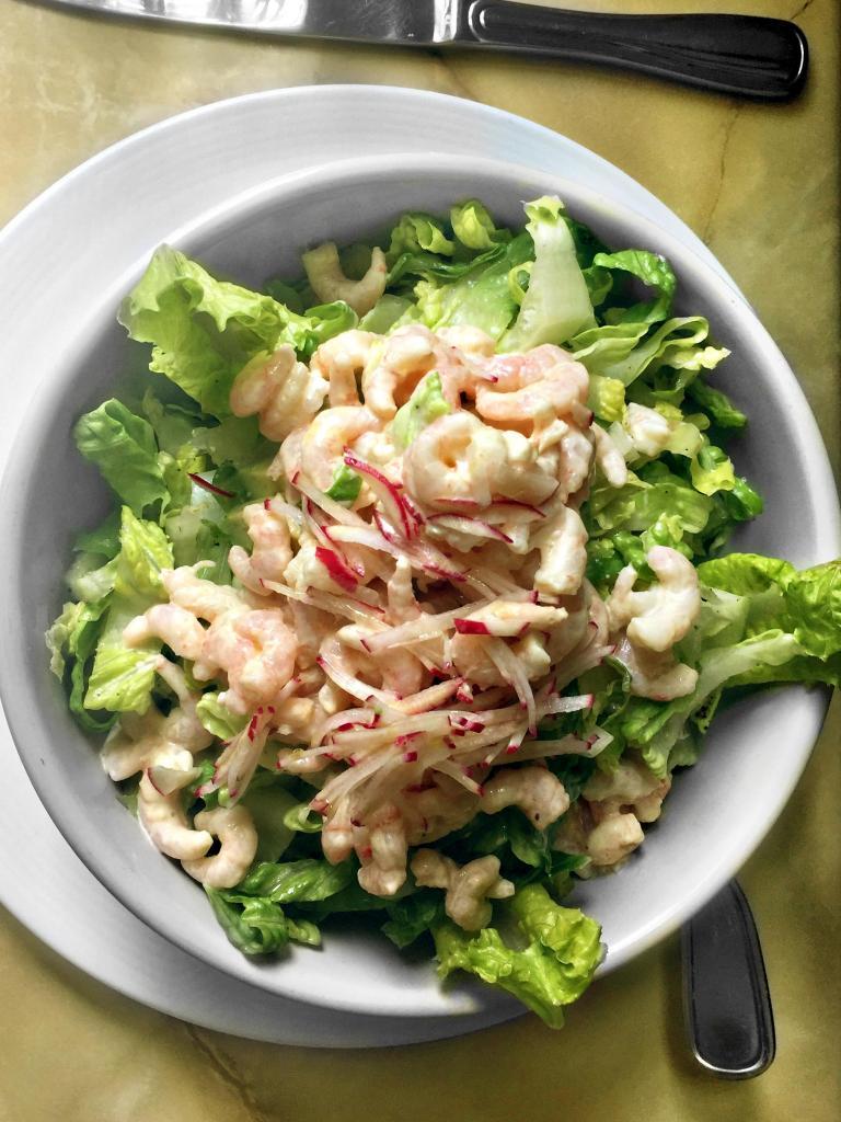 Avocado and shrimp with romaine, radish and grapefruit