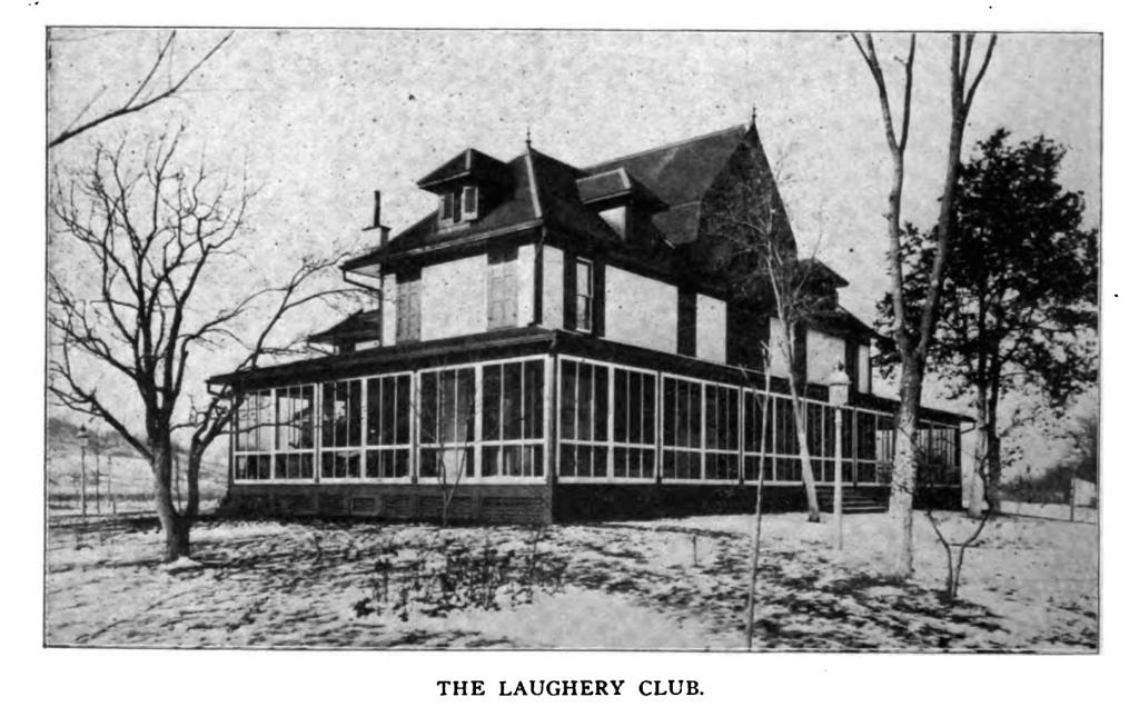 The club house of the Laughery Club was surrounded by cottages and annexes, nestled in a grove of trees planted in memory of deceased members.