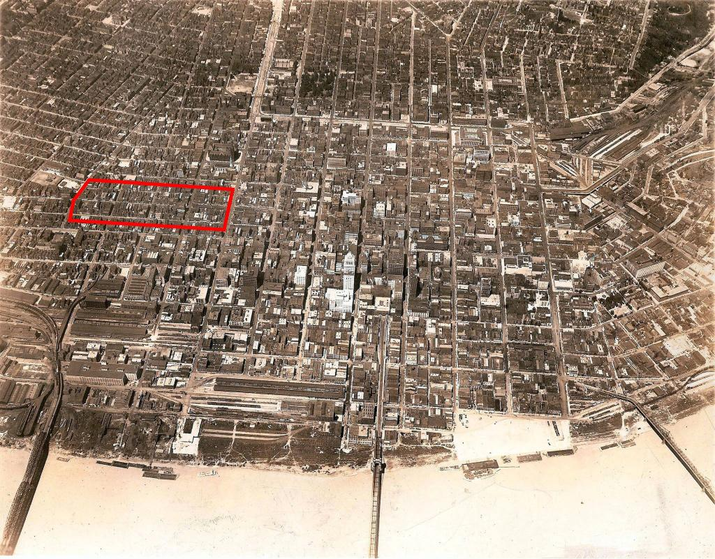 The near West End was a densely packed, thriving neighborhood throughout the time that Cincinnati's red-light district, outlined here, was operating.